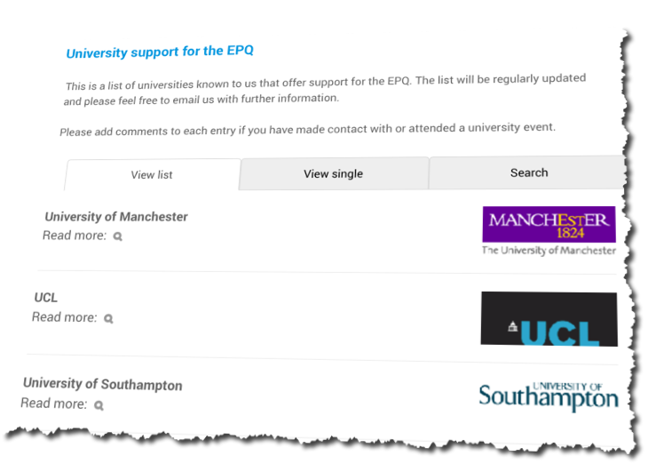 University support for the EPQ